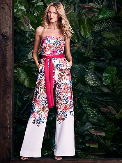 Strapless Palazzo Jumpsuit - Floral - New York & Company