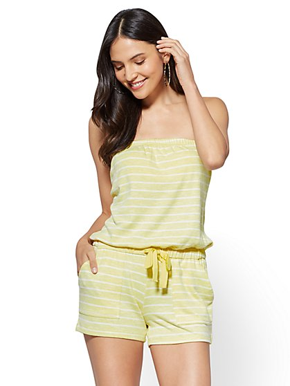 Strapless Romper - Yellow Stripe - New York & Company