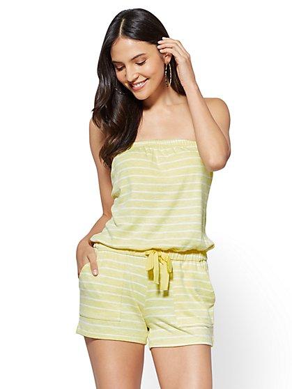 Strapless Romper - Yellow Stripe - New York & Company