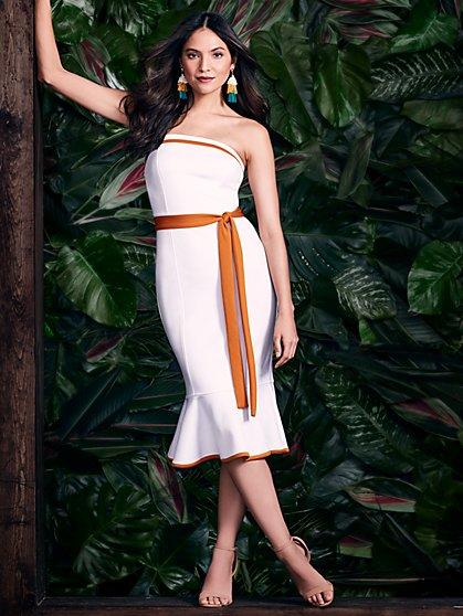 Strapless Sheath Dress - White - New York & Company