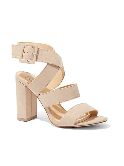 Strappy Faux-Suede Sandal  - New York & Company