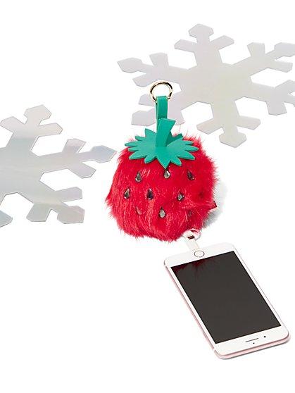 Strawberry Pom-Pom Charging Keychain - New York & Company
