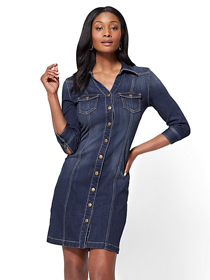 Stretchy Denim Shirtdress - Polished Blue Wash - New York & Company