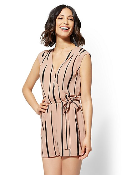Stripe V-Neck Wrap Romper - New York & Company