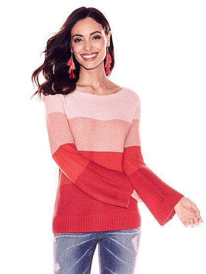 Striped Bateau-Neck Sweater - New York & Company