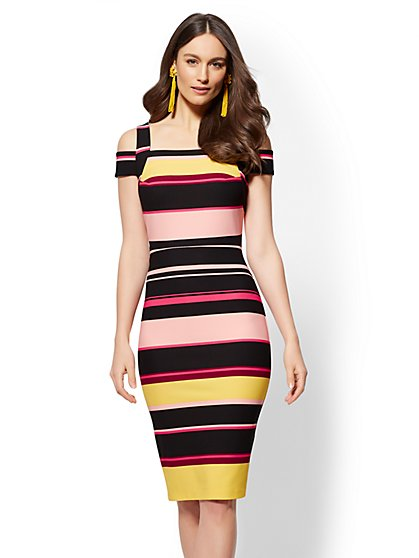Striped Cold-Shoulder Sheath Dress - New York & Company