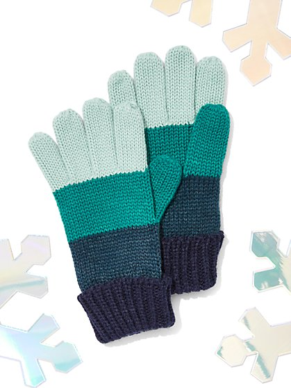 Striped Colorblock Gloves - New York & Company