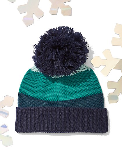 Striped Colorblock Pom-Pom Hat - New York & Company