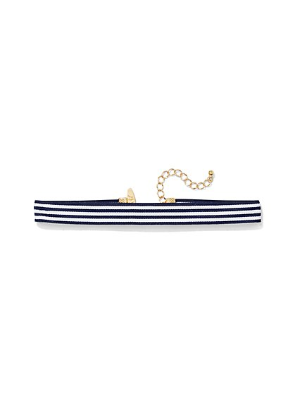 Striped Grosgrain Choker Necklace  - New York & Company