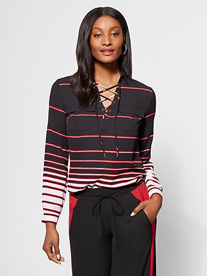Striped Lace-Up Blouse - New York & Company