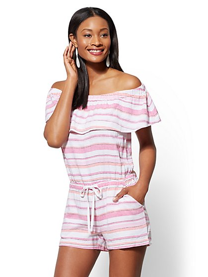 Striped Linen Off-The-Shoulder Romper - New York & Company