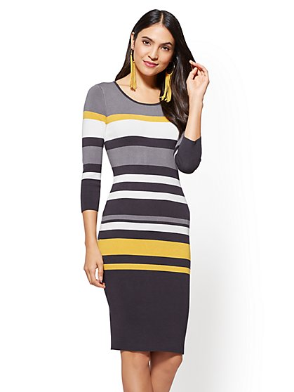 Striped Scoopneck Sweater Dress - New York & Company