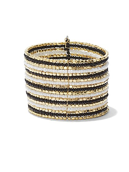 Striped Seed Bead Cuff Bracelet  - New York & Company
