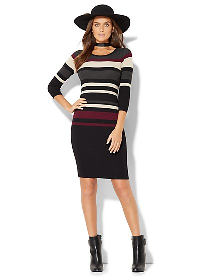 Striped Sweater Dress - New York & Company