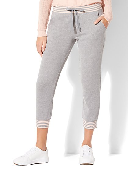 Striped-Trim Cropped Jogger Pant - New York & Company