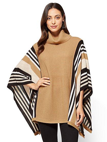 Striped Turtleneck Poncho - New York & Company