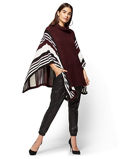 Striped Turtleneck Poncho - New York & Company