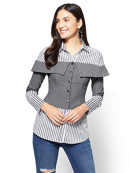 Striped Twofer Top  - New York & Company