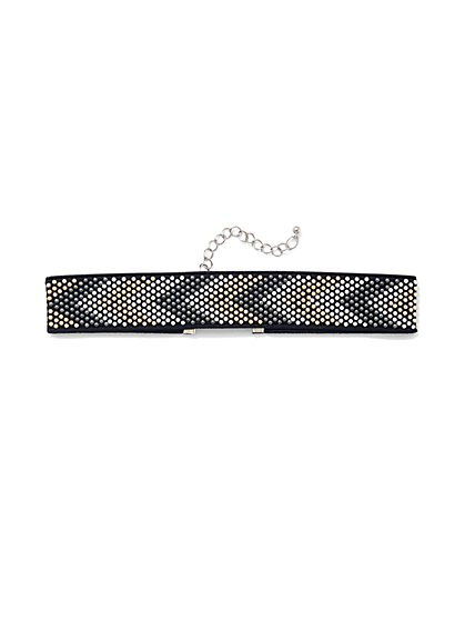 Studded Chevron Choker Necklace  - New York & Company