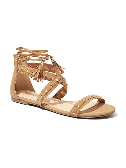 Studded Crisscross Sandal  - New York & Company