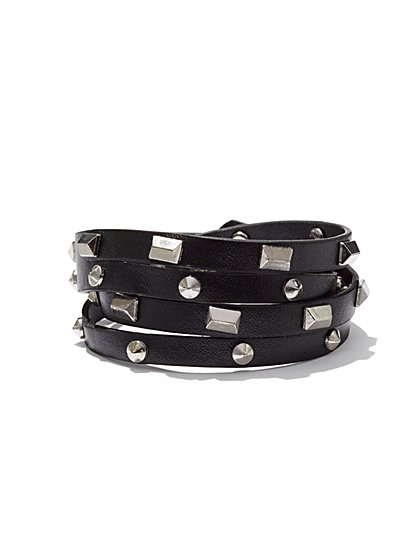 Studded Faux Wrap Bracelet  - New York & Company