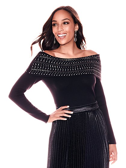 Studded Off-The-Shoulder Sweater - New York & Company