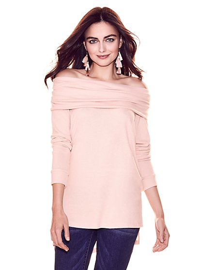 Super-Soft Knit Convertible Tunic Sweater - New York & Company
