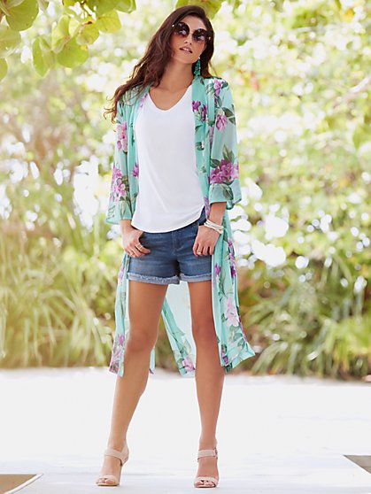 Sweet Pea - Chiffon Duster - Floral - New York & Company