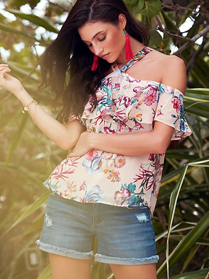 Sweet Pea - Cold-Shoulder Halter Blouse - Floral - New York & Company