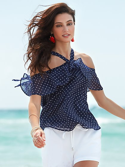 Sweet Pea - Cold-Shoulder Halter Blouse - Polka-Dot Print - New York & Company
