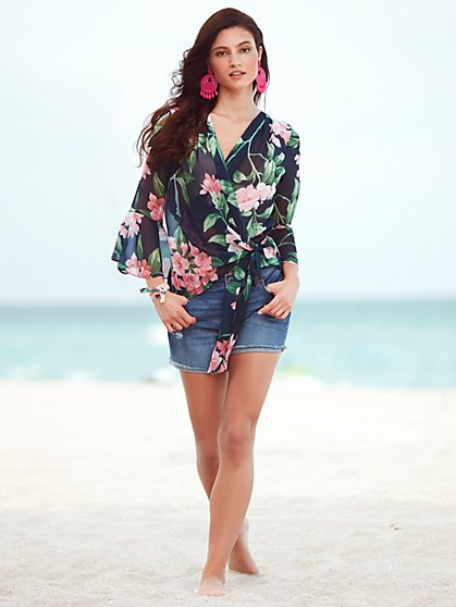 Sweet Pea - Flutter-Sleeve Kimono Jacket - Floral - New York & Company