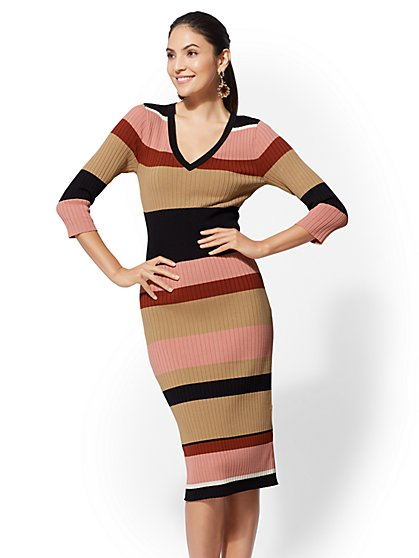 Tall Stripe V-Neck Sweater Dress - New York & Company
