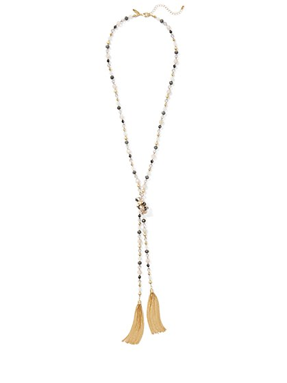 Tassel-Accent Beaded Lariat Necklace  - New York & Company