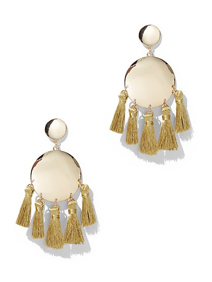 Tassel-Accent Disc Drop Earring - New York & Company