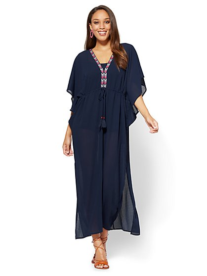 Tassel-Accent Embroidered Caftan  - New York & Company