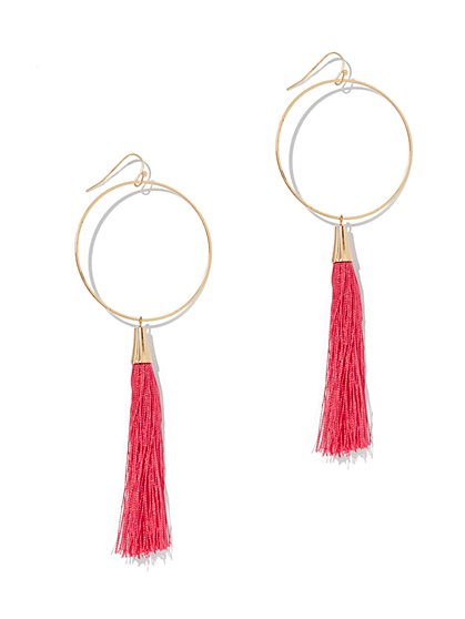 Tassel-Accent Hoop Drop Earring - New York & Company