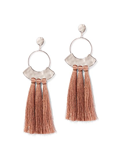 Tassel-Accent Hoop Drop Earring - New York & Company