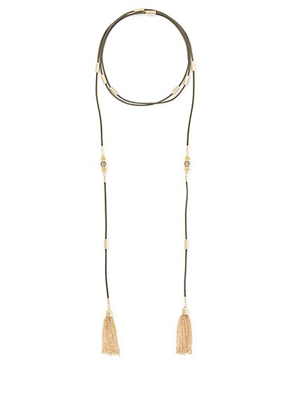 Tassel-Accent Lariat Necklace  - New York & Company