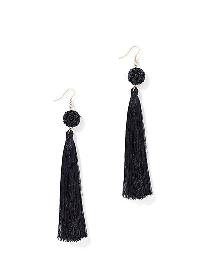 Tassel Drop Earring - Black - New York & Company