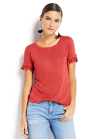 Tassel-Trim Scoopneck Tee - New York & Company
