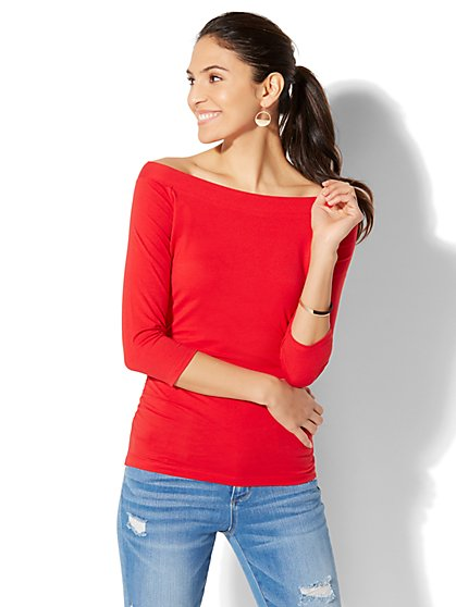 Tee Luxe - Bateau-Neck Shirred Top - New York & Company