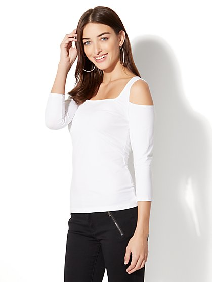 Tee Luxe - Cold-Shoulder Top - New York & Company