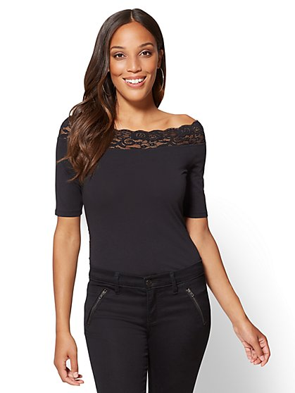 Tee Luxe - Lace-Trim Off-The-Shoulder Tee - New York & Company