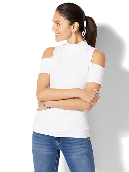 Tee Luxe - Mock-Neck Cold-Shoulder Top - New York & Company
