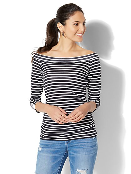 Tee Luxe - Striped Bateau-Neck Top - New York & Company