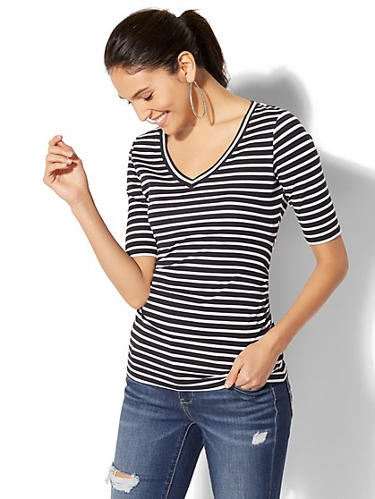 Tee Luxe - V-Neck Striped Top - New York & Company