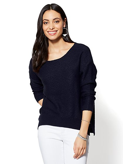 Textured Drop-Shoulder Sweater - New York & Company