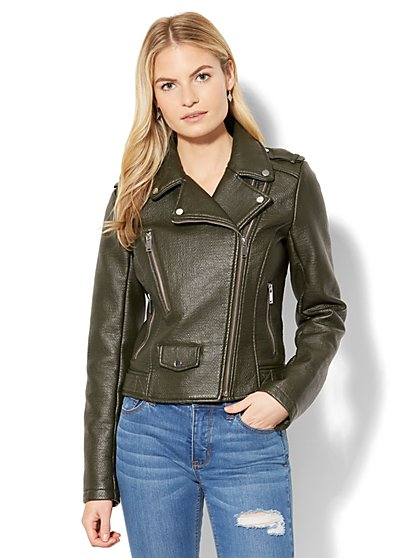 Textured Faux-Leather Moto Jacket - New York & Company
