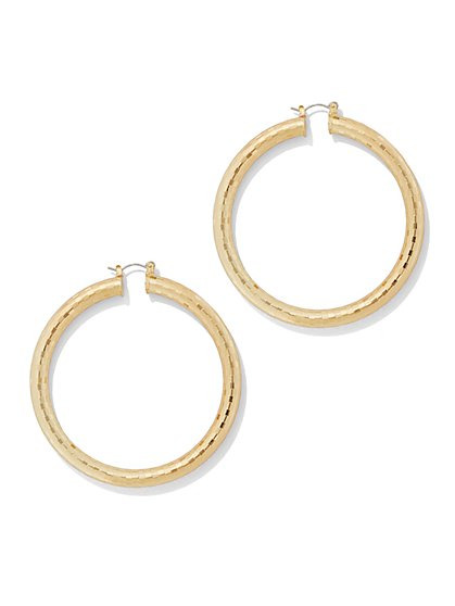 Textured Goldtone Hoop Earring  - New York & Company