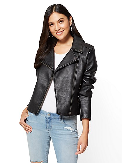 Textured Moto Jacket - New York & Company